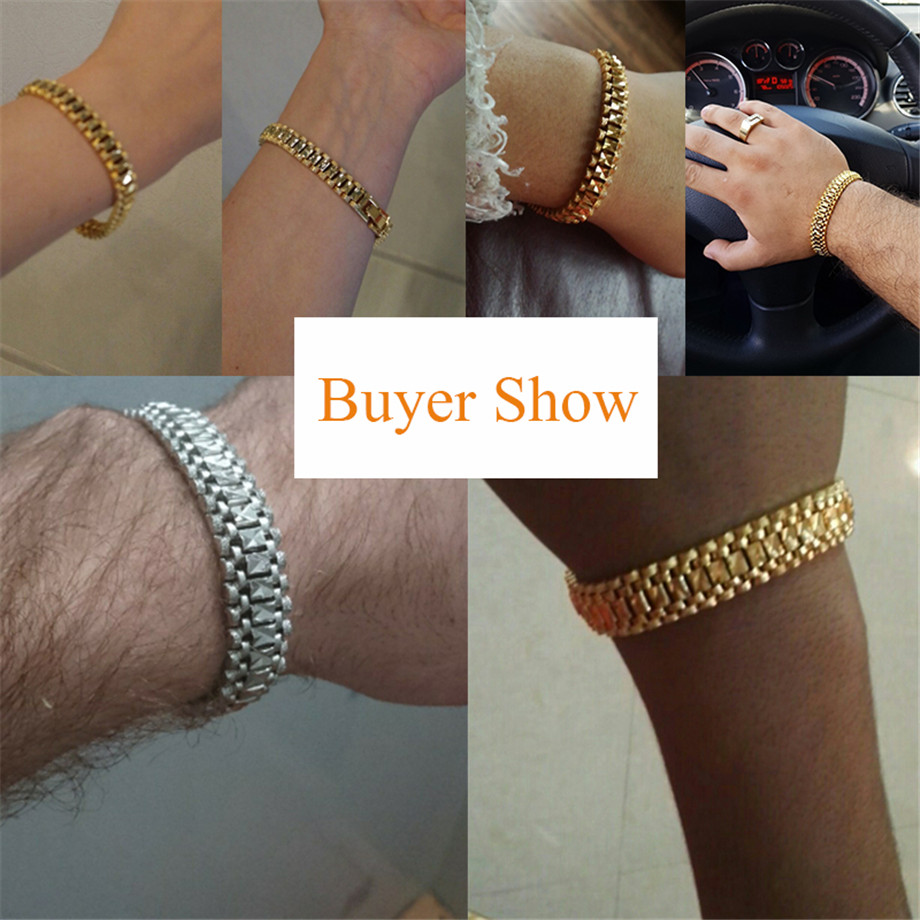Chunky Mens Hand Chain Bracelets Male Wholesale Bijoux Silver/Gold Color Chain Link Bracelet For Men Jewelry pulseira masculina 14