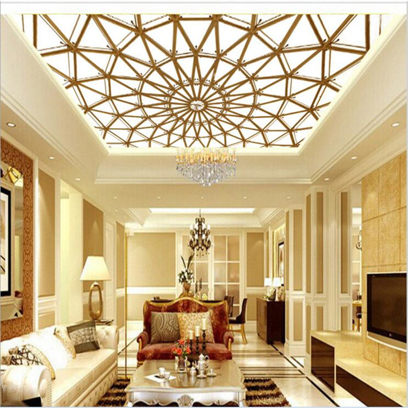 Ceiling Wallpapers 3D Stereoscopic European Murals for Living Room Large Striped Circular Stretching Wall Papers