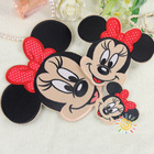 2016 NEW Cloth Paste Mickey & Minnie Patches Clothes Decoration Stickers DIY Cartoon Family Fitted With Plastic Accessories
