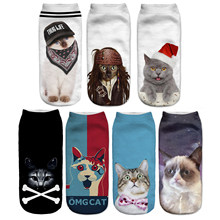 Cat Socks 3D Printing Female Socks Women Low Cut Ankle Socks Calcetines Mujer Casual Hosiery Printed Sock(China)