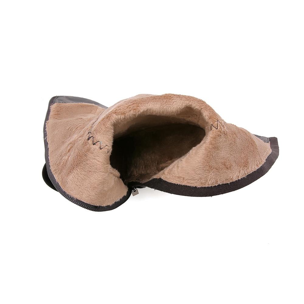 Talons La Femmes Chaussures 42 À 34 Bottes Nouveau Taille Velours Automne Hauts Mode Qzyerai Thermiques Genou Fermetures 2018 Noir Glissière qAtSgg
