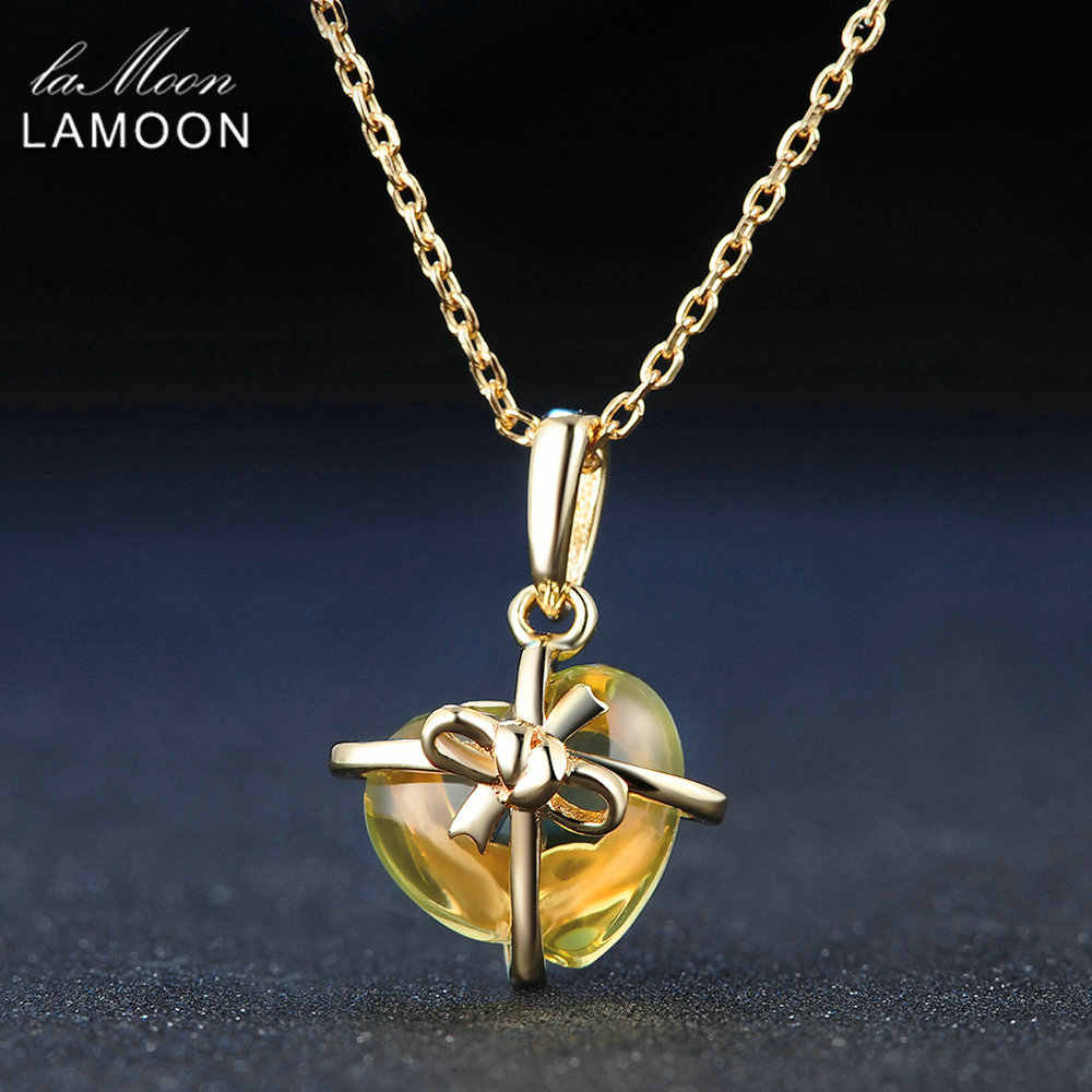 LAMOON 925 Sterling Silver Amber Pendant Necklace Romantic Heart Natural Citrine Fine Jewelry Women's Long Yellow Necklaces 2017