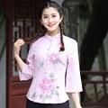 Elegant Floral Lady Cotton Linen Shirt Chinese Women's Mandarin Collar Blouse Vintage Tang Suit Tops S M L XL XL XXL XXXL 2617