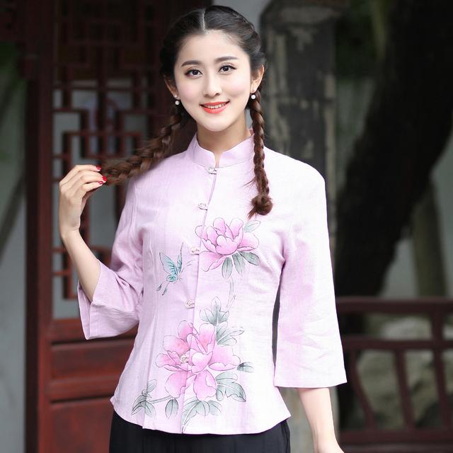Floral elegante Senhora Camisa De Linho De Algodão Chinês Mandarim Collar Blusa das Mulheres Tang Terno do vintage Tops S M L XL XXL XXXL 2617