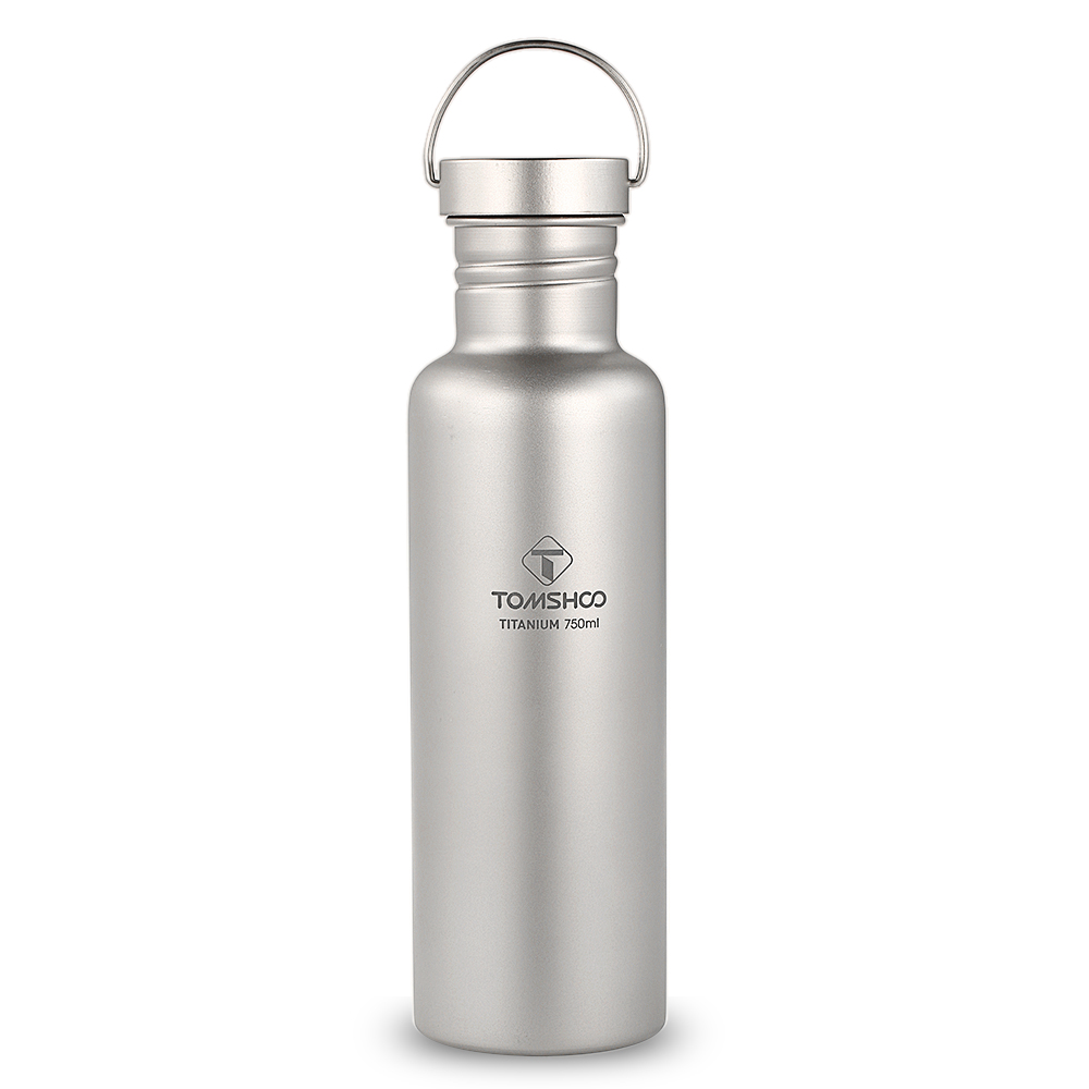 TOMSHOO 750ml Full Titanium Water Bottle with Extra Plastic Lid Outdoor Tableware Camping Hiking Cycling Water Cup Sports Bottle lid