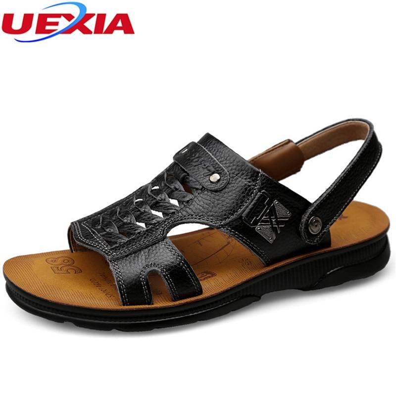 UEXIA Summer Men Beach Sandals Handmade Leather Sandals Shoes for Men Leisure Durable Non-slip Shoes Anti-slip Multi-Function