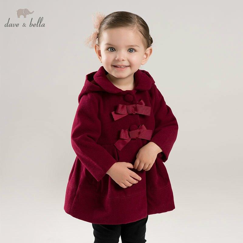 DBA7893 dave bella autumn winter baby lolita girls hooded jacket children high quality coat infant toddler