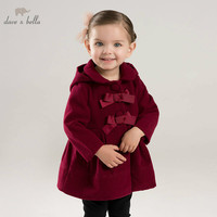 DBA7893 dave bella autumn winter baby lolita girls hooded jacket children high quality coat infant toddler with bows outerwear