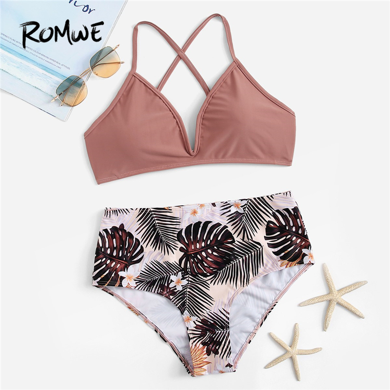 Romwe Cross-Top Bikinis-Set Two-Pieces-Suits Tropical-Bottoms Sport-Criss High-Waist