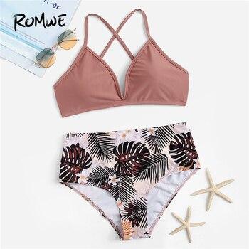 Romwe спортивный крест-накрест топ с тропическим низом набор с бикини для женщин летние сексуальные с высокой талией провода бесплатно пляжны...