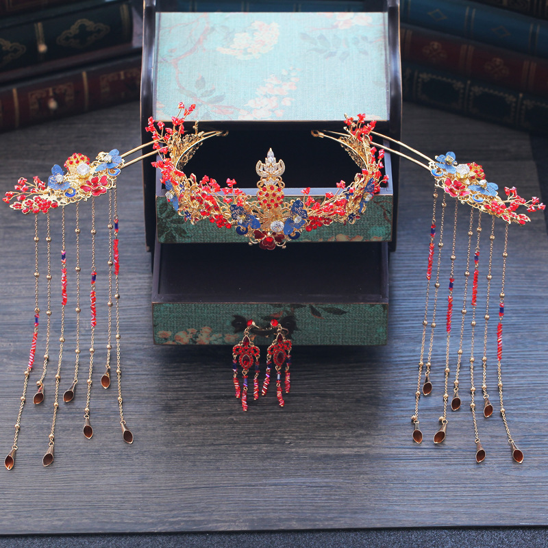 Traditional Chinese Red Wedding Headpiece Costume Blue Butterfly Hairpin Beaded Bridal Hair Jewelry 2