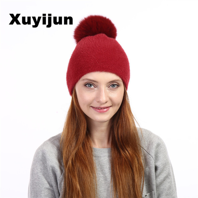 Xuyijun Natural fur fox pom poms ball Keep warm winter hat woman girls wool knitted hats cover thick skullies beanies