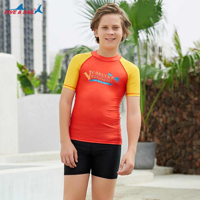 Remaja/Anak-anak Lengan Pendek Ruam Penjaga Berenang Kemeja UPF 50 + K Berlaku Baju Renang Olahraga Top Baju Renang Sun Tee Surf menyelam Kulit Anak Laki-laki Anak Perempuan