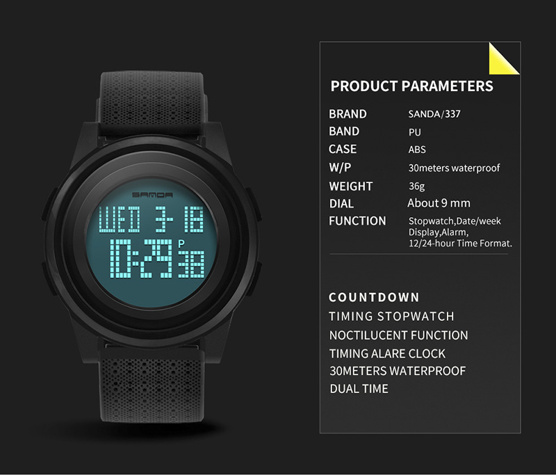 2018 Sanda Brand Sport Watch Men Luxury Electronic LED Digital Wrist Watches For Men Male 9mm Super Slim Clock Relogio Masculi 5