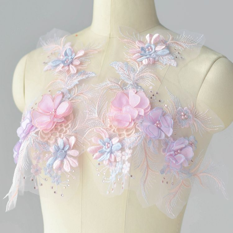 Color three-dimensional beaded embroidery lace flowers lace wedding dress Hanfu decorative handmade accessories materials