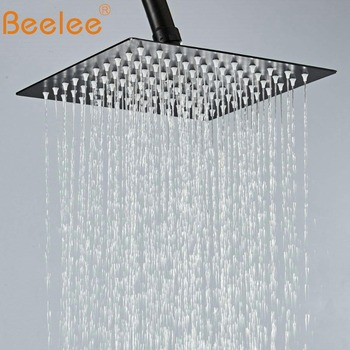 Beelee Shower Head,12 Inch Rainfall Shower Head in Matte Black,High Pressure Adjustable Ultra-Thin Stainless Steel Top Sprayer