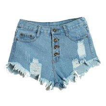 Summer Sexy Women's Irregular High Waisted Shorts Fashion Slim Fit Denim Jeans Shorts