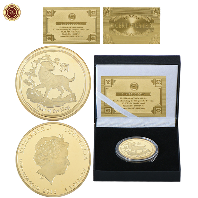 WR Year Of The Dog 5 Dollars Gold Plated Challenge Coin 2018 Australia Elizabeth II