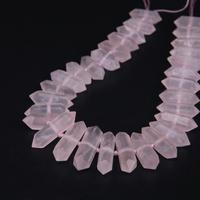 15 5 Strand Natural Rose Quartzs Faceted Double Point Loose Beads Raw Crystal Gems Slice Stick