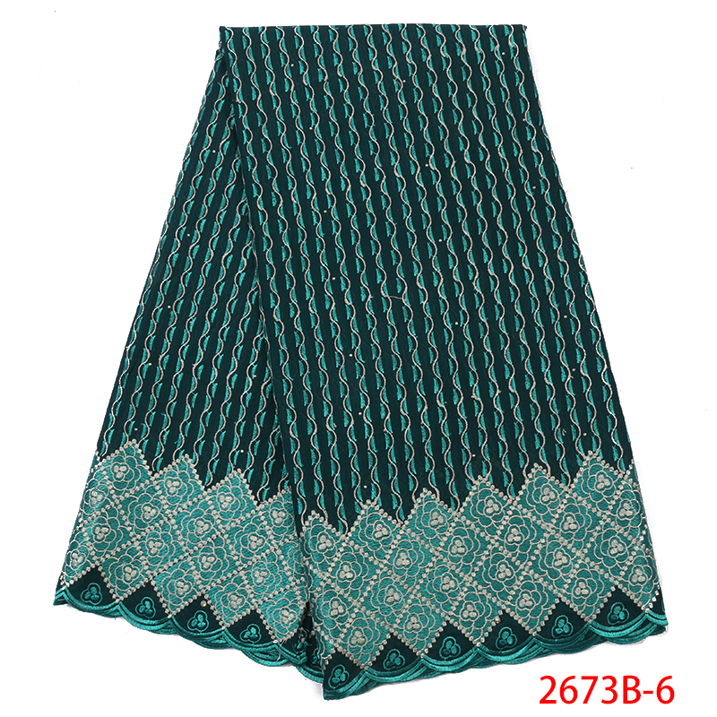 Hot Sale Swiss Voile Lace Fabric 2019 High Quality African Fabric Lace Swiss Voile Laces In Switzerland With Stones KS2673B-6