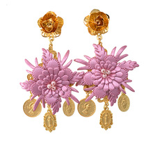 Exaggerated Leather Flower Baroque Earring Jewelry European Fashion Women