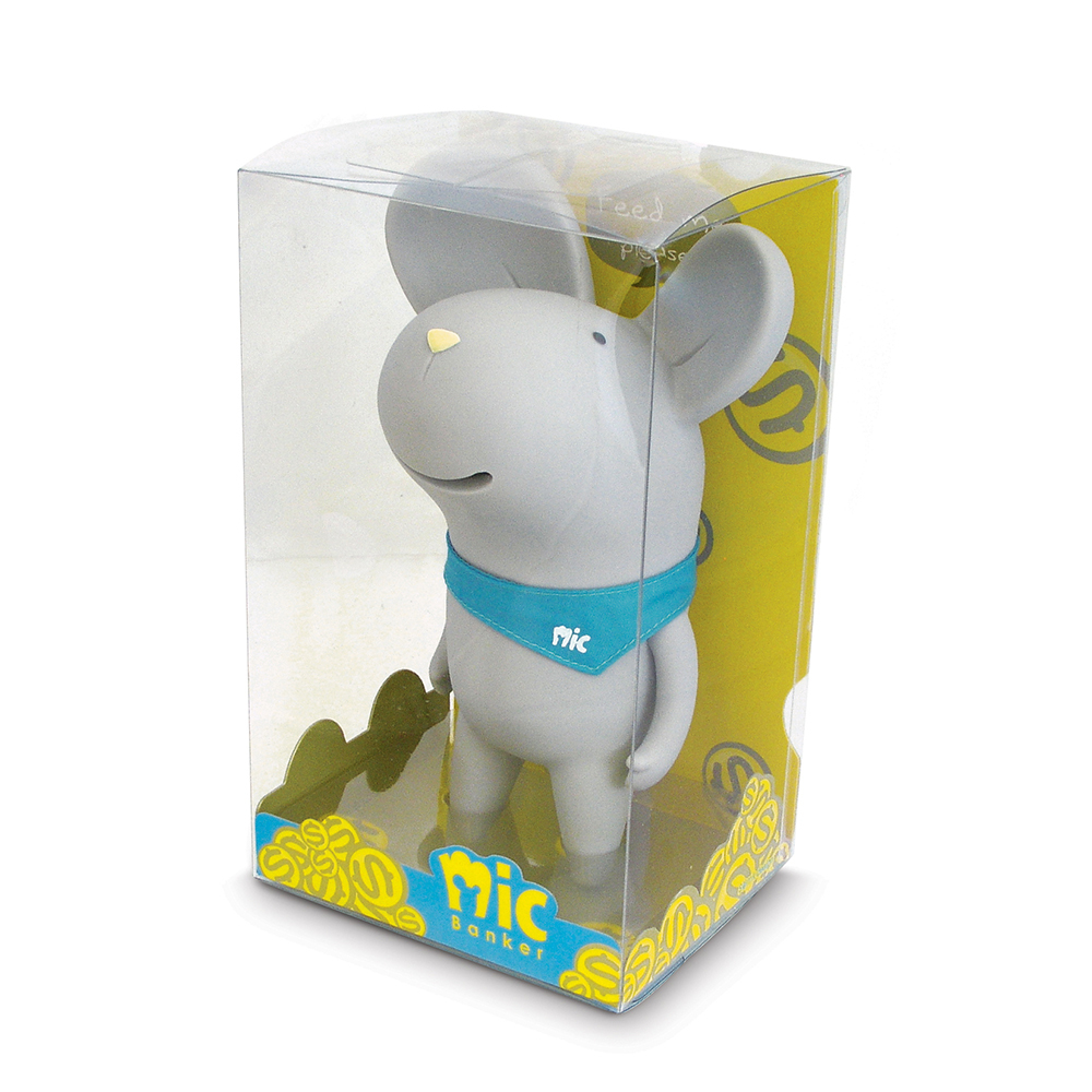 20cm Mouse Anime Figure Mic Money Box White Grey Mouse Doll With Neckerchief Home Office Desk Decoration Gifts