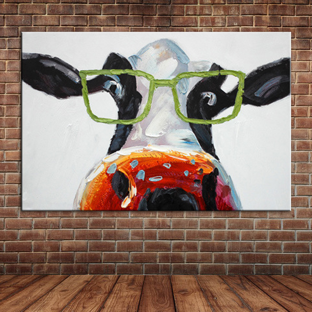 Funny Cows Wear Glasses Oil Painting Cartoon Animal Canvas