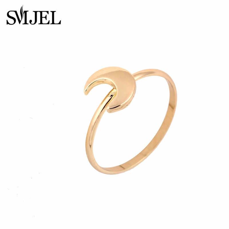 Smjel Trendi Bulan Cincin Wanita Bulan Sabit Cincin Minimalis Manset Ringsfinger Perhiasan Hadiah untuk Wanita Double Horn BoHo Bague Femme