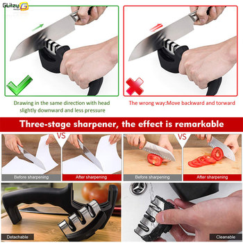 Knife Sharpener 3 Stages Professional Kitchen Sharpening Stone Grinder knives Whetstone Tungsten Diamond Ceramic Sharpener Tool 4