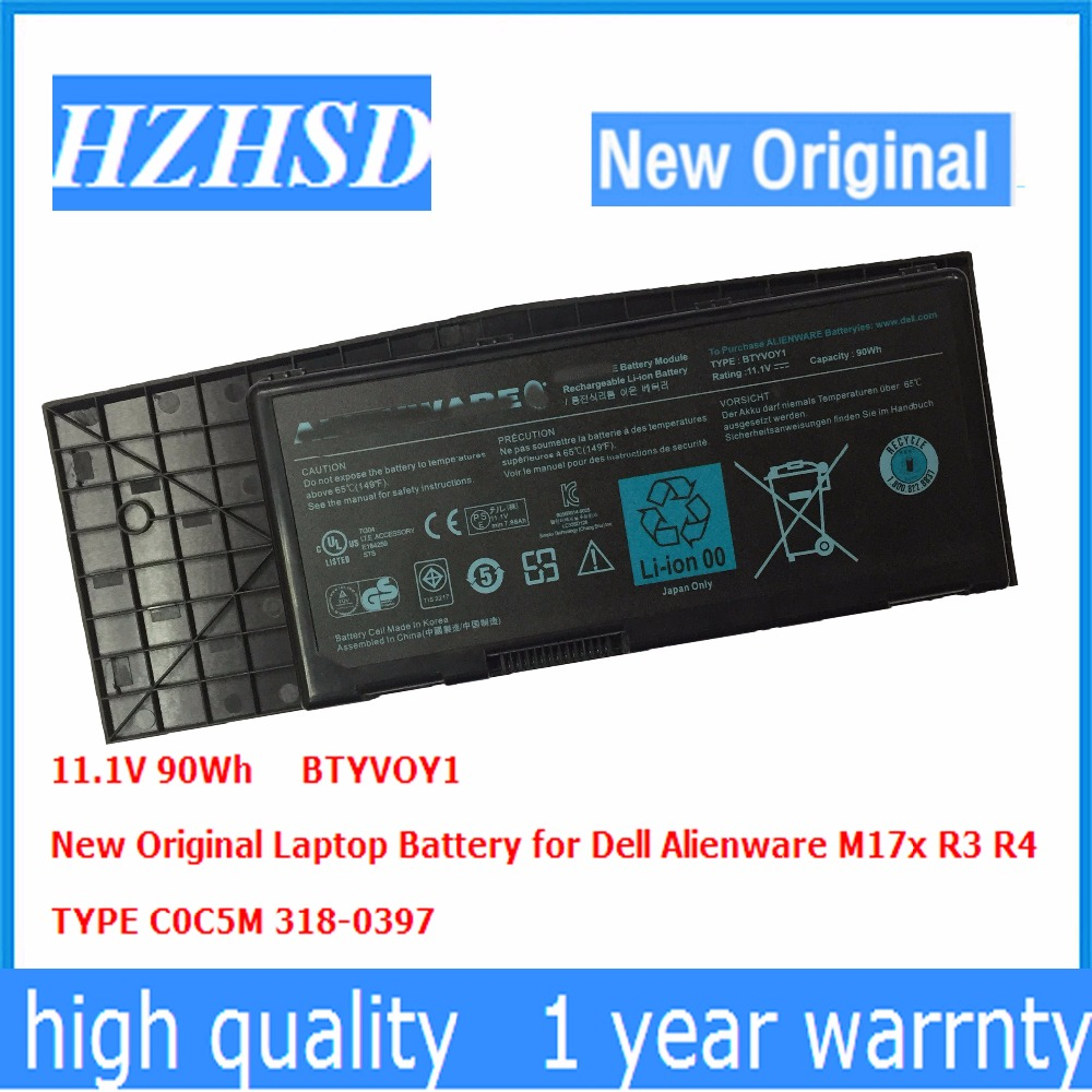 11.1V 90Wh/9CELL New Original BTYVOY1 Laptop Battery For Dell Alienware M17x R3 R4 TYPE C0C5M 318-0397