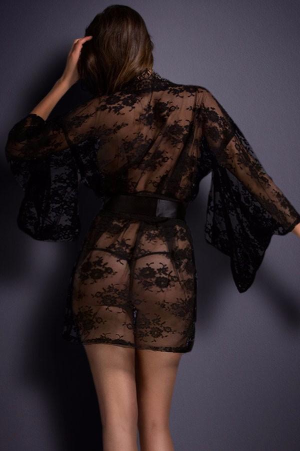 Black-Belted-Lace-Kimono-Nightwear-LC21998-2-2