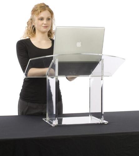 شحن مجاني الحديث مخصص الاكريليك سطح المكتب منبر الاكريليك المنبر الطاولة منبر واضح زجاجي المنصة
