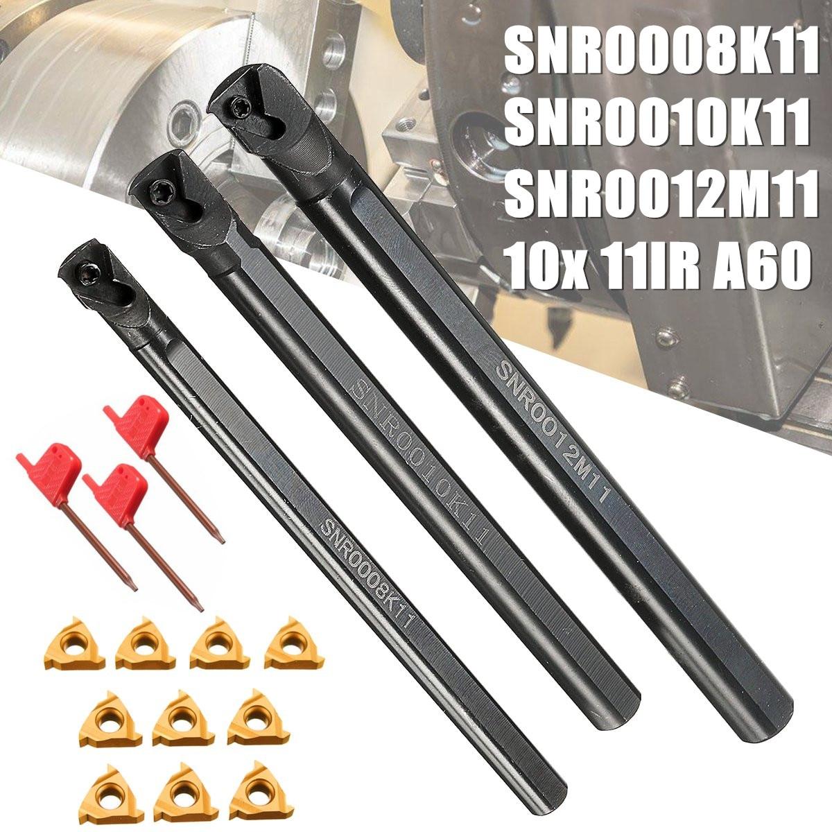 Barra de Aço Snr0008k11 + Snr0010k11 + Snr0012m11 Chave + 10x Conjunto Torno Chato Inoxidável Peças 11ir A60 Inserção Chave 3