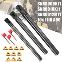 3 set SNR0008K11+SNR0010K11+SNR0012M11 Lathe Boring Bar Stainless Steel 3Pcs wrench+ 10x 11IR A60 Insert Wrench