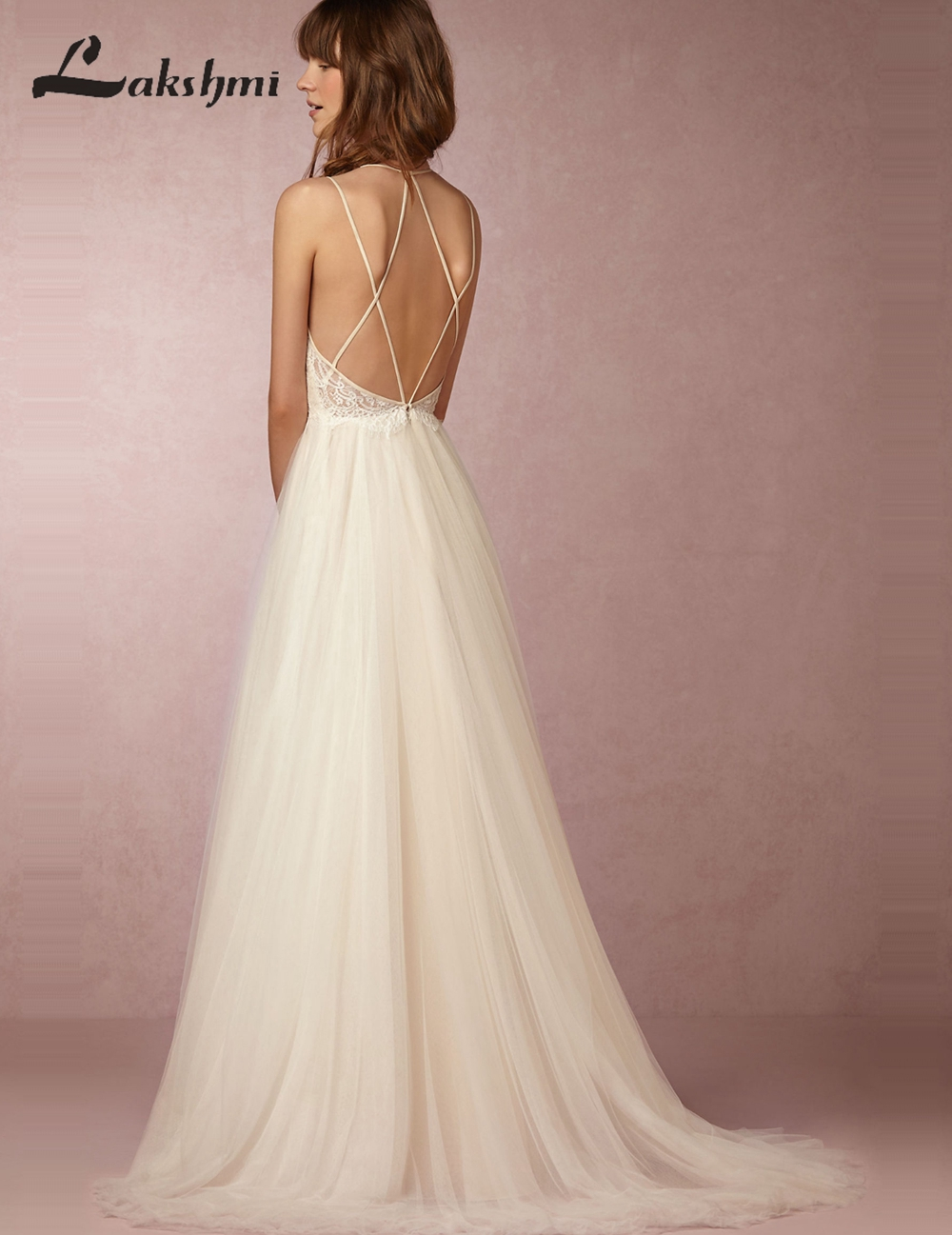 Exquisite Spaghetti Straps Lace Wedding Dresses Criss Cross Back A ...