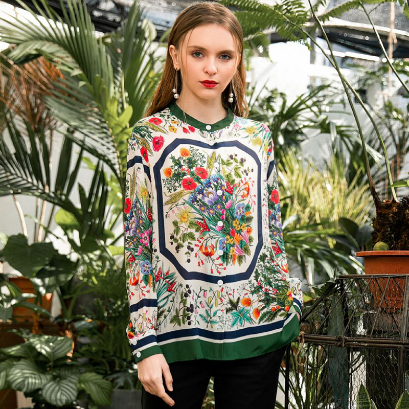 High Quality 100% Silk Blouse Women Lightweight Fabric Printed O Neck Long Sleeve Plus Sizes Tops Elegant Style New Fashion 2019-in Blouses & Shirts from Women's Clothing    1