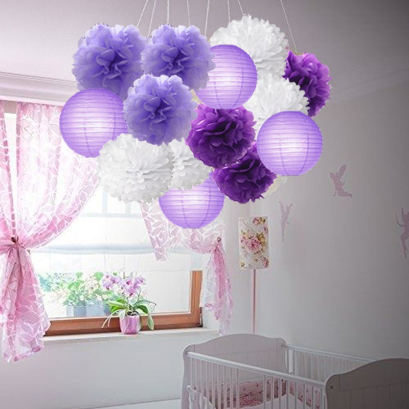 8de7239a586 16pcs Tissue Paper Flowers Ball Pom Poms Mixed Paper Lanterns Craft Kit for Lavender  Purple Themed Party Decor Baby Shower-in Party DIY Decorations from ...