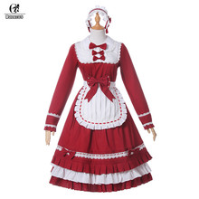 Фотография ROLECOS Classical Lolita Dress For Girls Black&White Stitching Maid Lolita Dress With Apron Headdress Long Sleeve Bowknot Dress