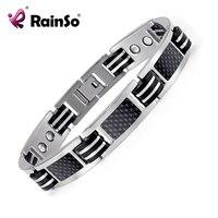 Rainso Titanium Black Carbon Fiber Bracelets Bangles Magnetic Health Care Bracelet Silver Plated Men Jewelry OTB