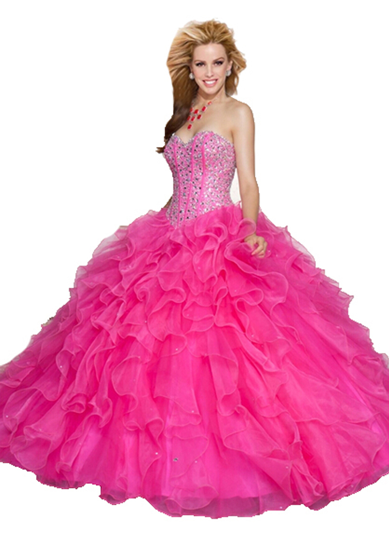 c0cdbd71e5 Hot Pink Beaded Top Ball Gown Organza Fuschia Hot Pink Vestidos De  Quinceanera Turquoise Quinceanera Dresses Vestido De 15 Anos-in Quinceanera  Dresses from ...