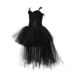 Image 4 - Robe Tutu pour filles noires, robe en Tulle avec col en v, robe de soirée pour fête anniversaire, Costume dhalloween, 1 14 ans