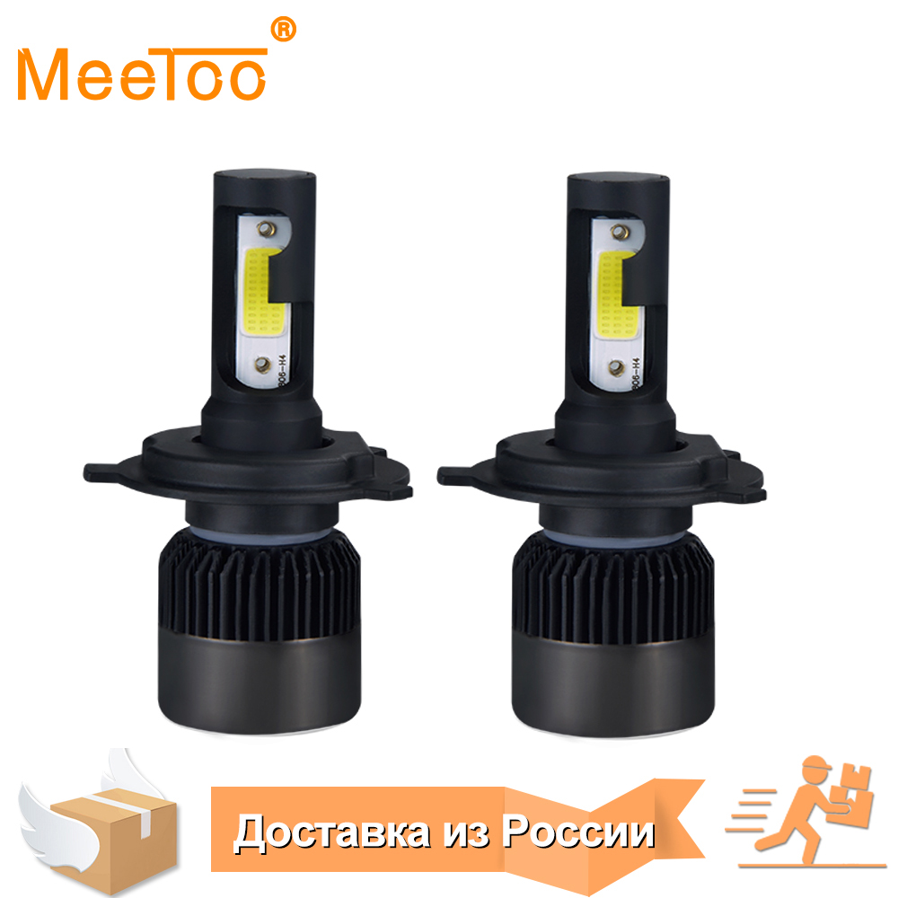 MeeToo H4 LED Bulb Car Headlight H7 LED H1 H8 H11 HB3 HB4 9005 9006 IP65 72W 8000LM 6500K Fog Light 12V 24V Auto Headlamp Lamps 2x h7 car led headlight auto p7 h4 h11 h1 h3 h7 h8 h9 9005 9006 9012 880 881 white csp led headlights bulb fog light 12v 24v 72w