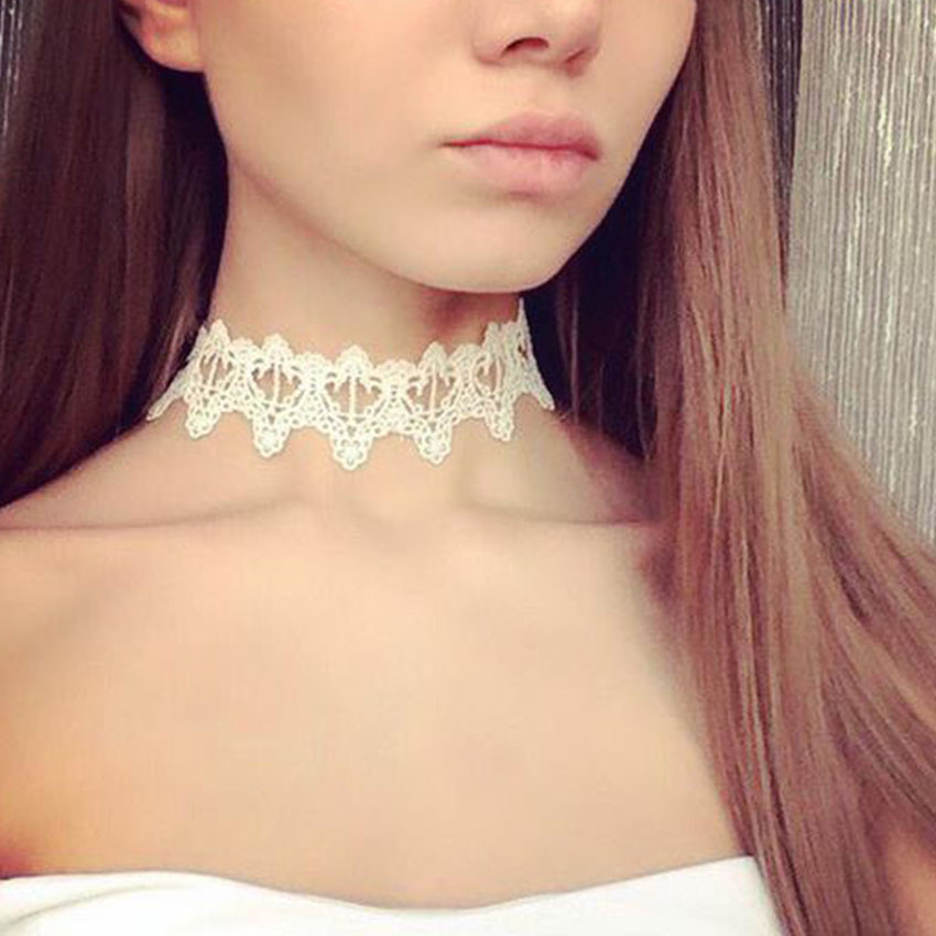 2016 white lace choker necklace women crown tattoo choker flower chokers chocker collier ras du. Black Bedroom Furniture Sets. Home Design Ideas