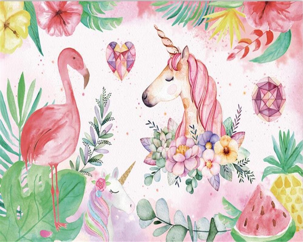 Купить с кэшбэком beibehang Custom High-quality wallpaper nordic flamingo unicorn children room decoration wall papel de parede 3d wallpaper mural