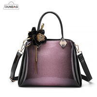 IDUNBAG Women High Quality Starry Patent Leather Bag With Flower Ladies Business Totes Elegant Lady Handbag Female Fashion Bags