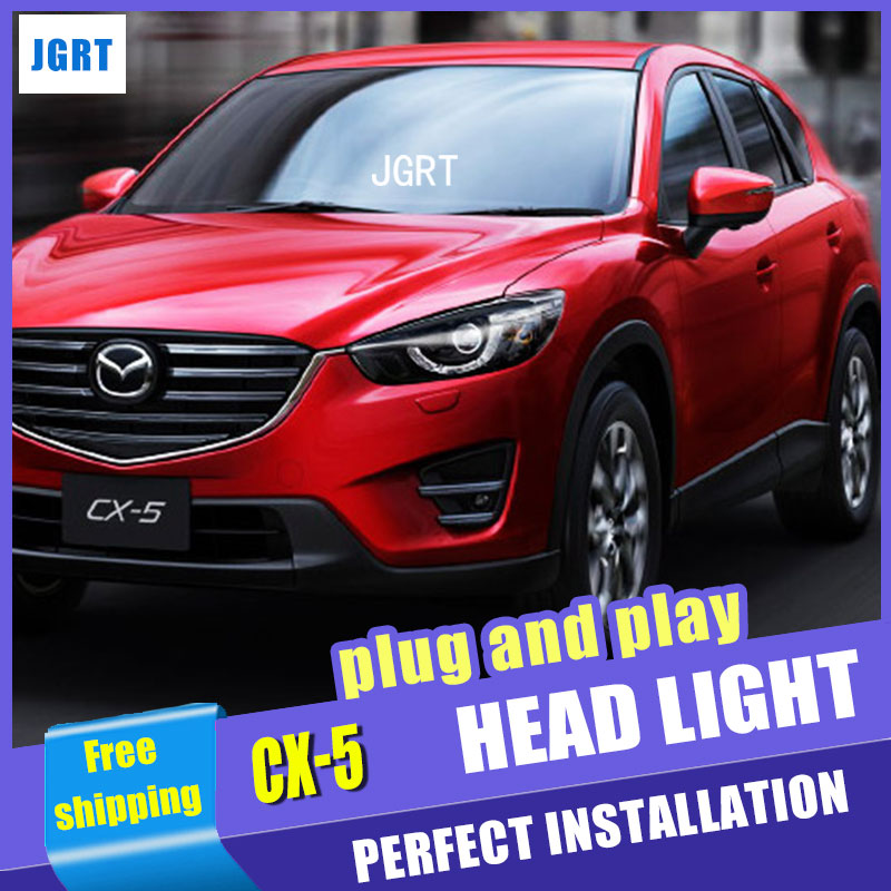 Car Styling For Mazda CX-5 headlight assembly 13-15 For CX-5 LED head lamp Angel eye led DRL front light H7 with hid kit 2 pcs. car styling head lamp for bmw e84 x1 led headlight assembly 2009 2014 e84 led drl h7 with hid kit 2 pcs