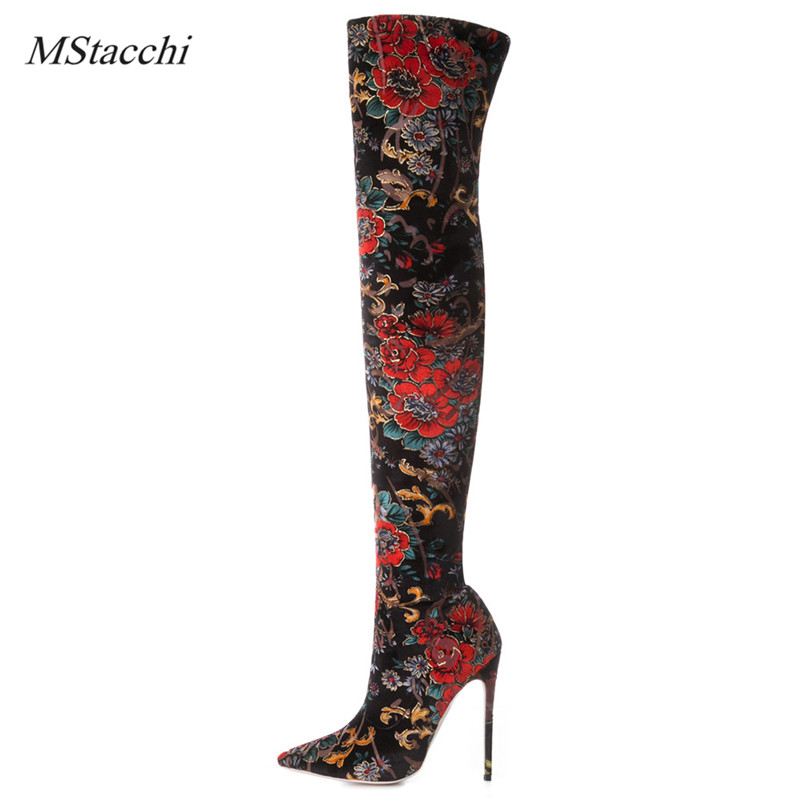 Mstacchi Autumn Winter Female Over The Knee Boots Flower Prints High Heels Ladies Party Shoes Womens Stretch Thigh High Boots 2018 boots womens winter over the knee tight high stretch female chunky high heel stocking shoes