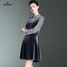 Spring Velvet Dress Turn down Collar Shirt dress British Style Womens Sexy Dresses False Two Pieces