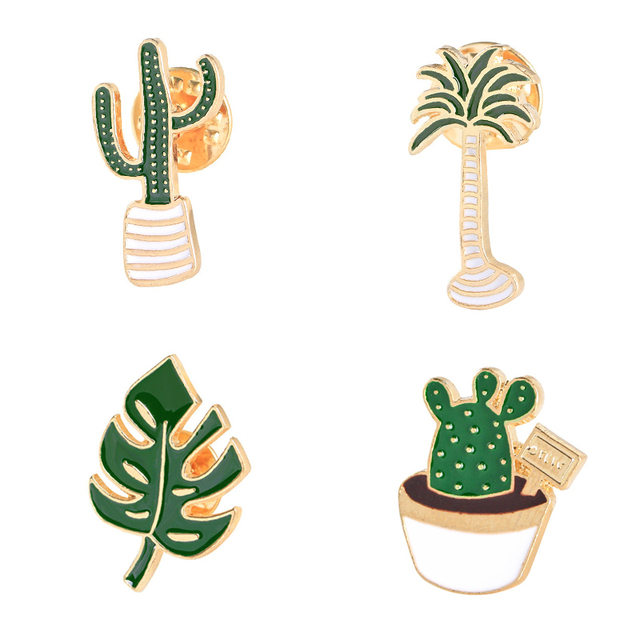 Lovely Badge Plant Potted Collar Shoe Lips Enamel Brooch Coconut Tree Cactus Lea
