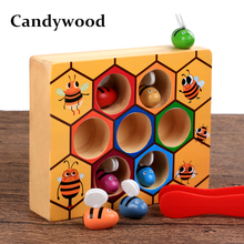Candywood Wooden fine action hand eye coordination ability toys Montessori beehive game for children kids Hardworking bee toy
